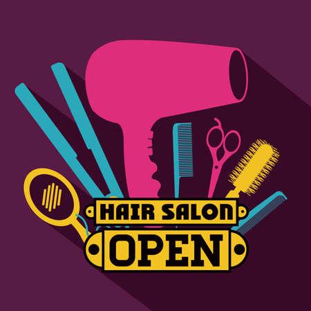 Ilustración de Hair salon over purple background,vector illustration - Imagen libre de derechos