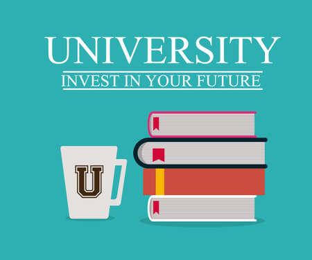 Illustration pour University and Graduation design over blue background, vector illustration - image libre de droit