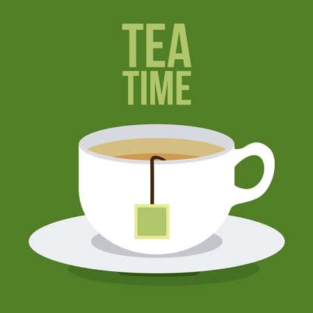 Ilustración de Tea time design over green background, vector illustration - Imagen libre de derechos