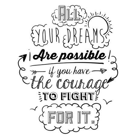 Ilustración de encourage quotes design, over white background, vector illustration - Imagen libre de derechos