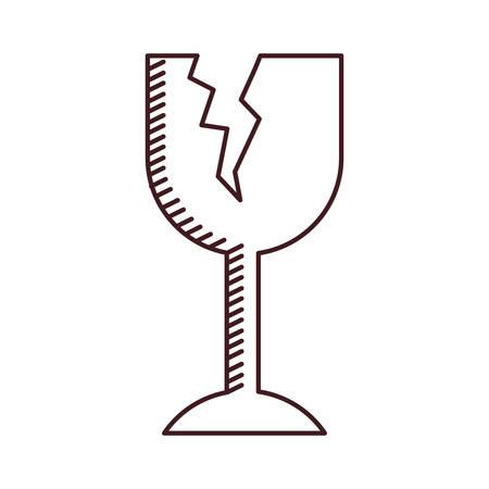 Illustration pour monochrome silhouette of fragile packaging symbol broken wine glass vector illustration - image libre de droit