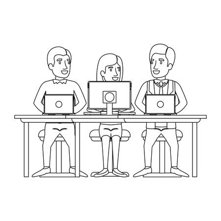 Ilustración de monochrome silhouette of teamwork of woman and men sitting in desk with tech devices vector illustration - Imagen libre de derechos
