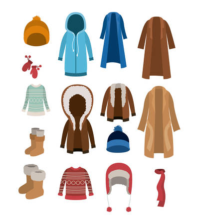 Illustrazione per Winter clothes set with coats sweaters wool cap boots scarf jackets and gloves over white background vector illustration - Immagini Royalty Free
