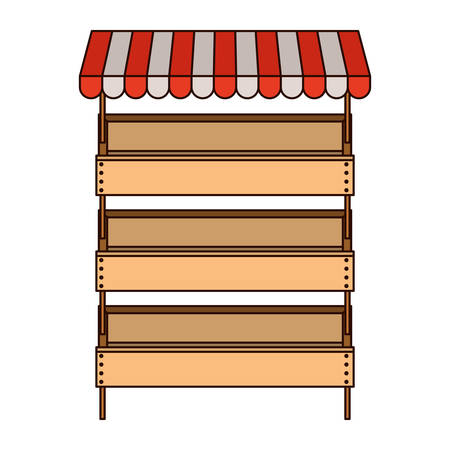 Illustration pour supermarket shelves with big storage with three levels and sunshade in colorful silhouette with thin black contour vector illustration - image libre de droit
