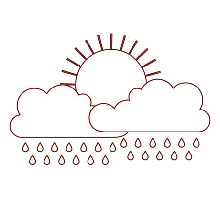 sun and cloud with rain in dark red contour vector illustration
