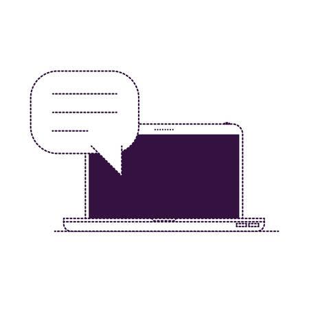 Ilustración de laptop computer front view with speech dialogue in purple dotted silhouette vector illustration - Imagen libre de derechos