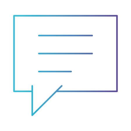 Ilustración de square dialogue speech with tail in degraded blue to purple color contour vector illustration - Imagen libre de derechos