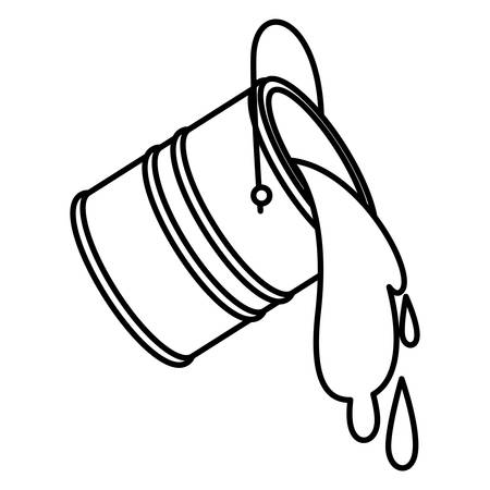 Ilustración de Paint bucket spilling icon in black contour vector illustration. - Imagen libre de derechos