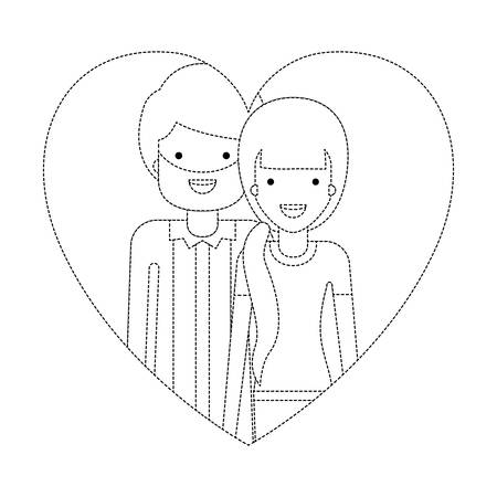 Ilustración de couple inside heart characters vector illustration design - Imagen libre de derechos