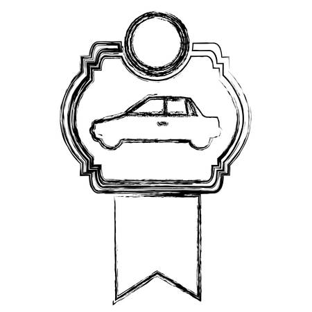 Illustration pour monochrome sketch of automobile of side view in heraldic frame with ribbon vector illustration - image libre de droit