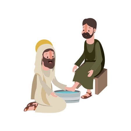 Ilustración de Jesus washing the feet of an apostle vector illustration design - Imagen libre de derechos