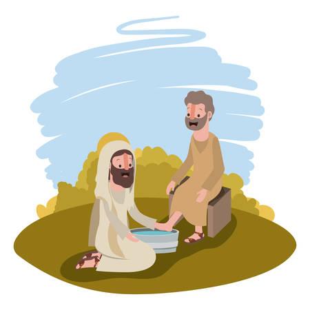 Ilustración de Jesus washing the feet of an apostle in the camp vector illustration design. - Imagen libre de derechos