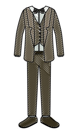 elegant clothes of old man with bowntie vector illustration design