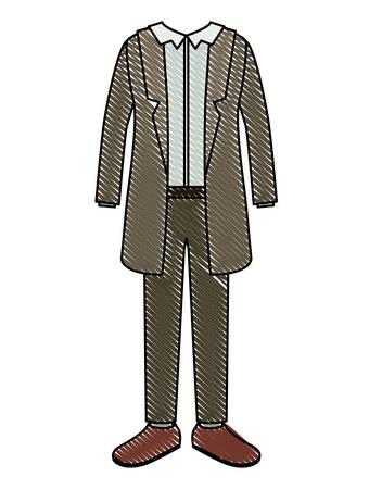 elegant clothes of old man with coat vector illustration design