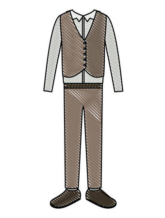 elegant clothes of old man with waistcoat vector illustration design