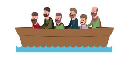 Ilustración de apostles group in boat biblical scene vector illustration design - Imagen libre de derechos