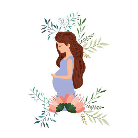 Ilustración de beautiful mom pregnancy with floral frame vector illustration design - Imagen libre de derechos