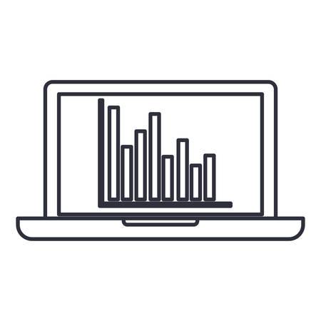 Ilustración de Infographic and laptop icon. Information business and analytics theme. Isolated design. Vector illustration - Imagen libre de derechos
