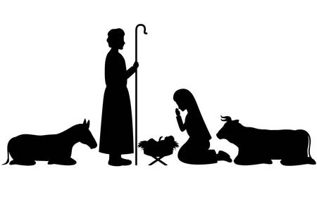 Illustration for holy family and animals manger silhouettes vector illustration design - Royalty Free Image