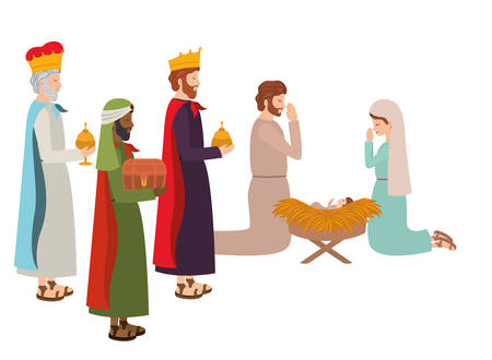 Illustration for holy family with wise kings and animals vector illustration design - Royalty Free Image
