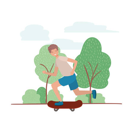 young man with skateboard in landscape vector illustration desing