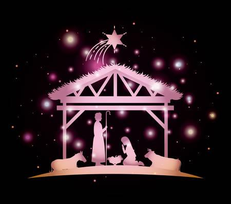 Ilustración de Christmas card with holy family and animals - Imagen libre de derechos