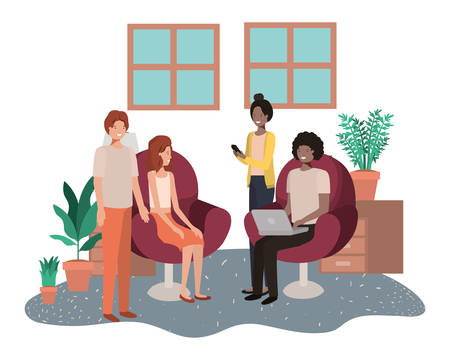 Illustrazione per group of people using technology devices in livingroom vector illustration design - Immagini Royalty Free