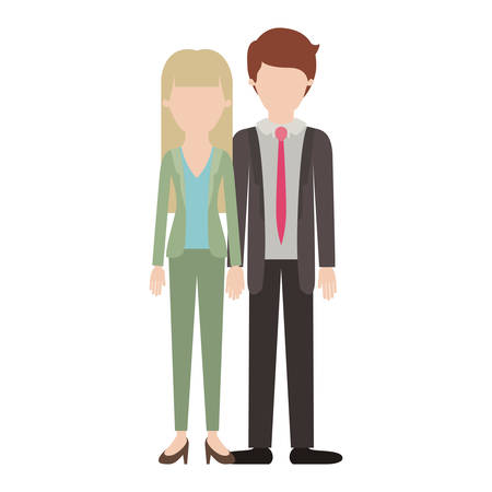 Illustrazione per faceless couple colorful silhouette and her with blouse and jacket and pants and heel shoes with - Immagini Royalty Free