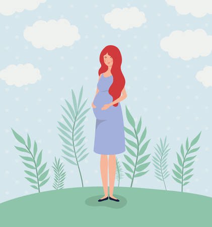 Ilustración de cute woman pregnancy in the landscape vector illustration design - Imagen libre de derechos