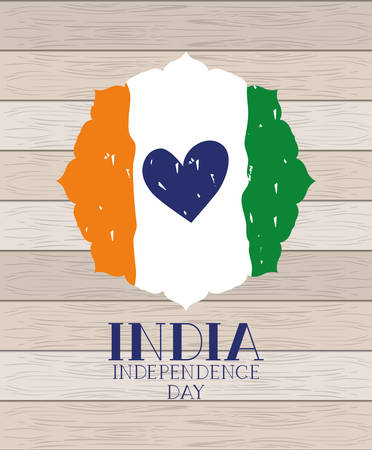 Illustration pour independence day indian flag with heart in wooden background vector design - image libre de droit