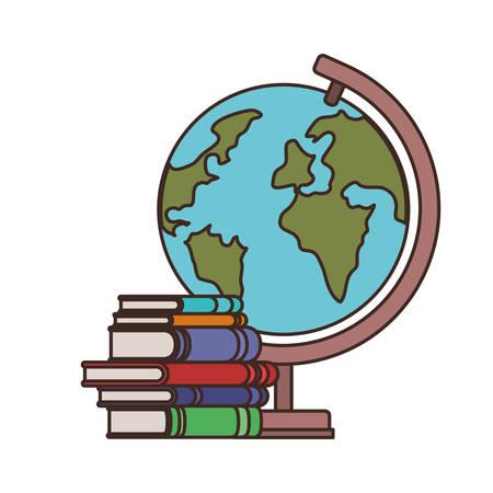 Illustration pour stack of books with globe on white background vector illustration design - image libre de droit