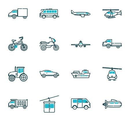 Illustration pour Vehicles icon set design, Transportation travel trip urban motor speed fast automotive and driving theme Vector illustration - image libre de droit