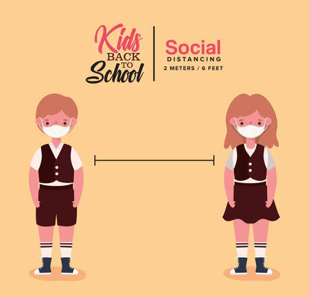 Ilustración de Girl and boy kid with uniform and medical mask design, Back to school and social distancing theme Vector illustration - Imagen libre de derechos