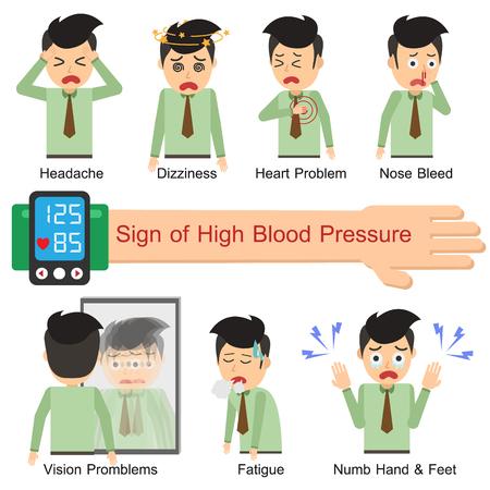 Illustration pour Sign of High blood pressure. Vector illustration flat design. Office Man. - image libre de droit