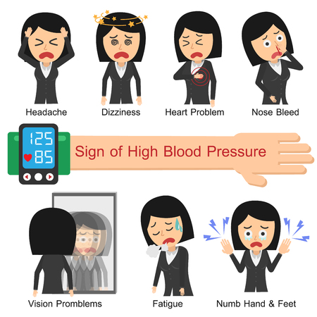 Illustration pour Sign of High blood pressure. Vector illustration flat design. Office Woman. - image libre de droit
