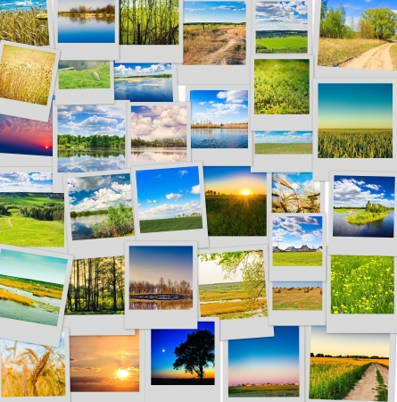 Nature and travel background. Collage of images