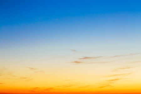 Photo pour Sky, Bright Blue, Orange And Yellow Colors Sunset. Instant Photo, Toned Image. Gradient Background - image libre de droit