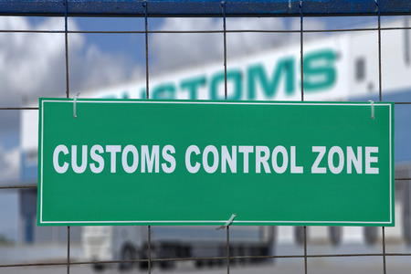 Photo for Logistics complex behind the green sign, customs control zone. - Royalty Free Image