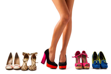 Photo pour Shopping for a right pair of shoes - image libre de droit