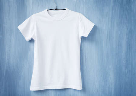 Photo for White t-shirt on hanger - Royalty Free Image