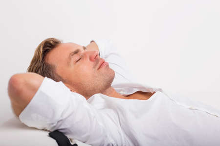 Photo for Man lying down and resting - Royalty Free Image