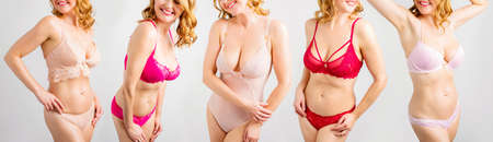 Photo for Natural model posing in different sets of women's lingerie - Royalty Free Image