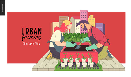 Illustration pour Urban farming, gardening or agriculture. A man and a woman planting out the sprouts to the wooden package bed with a city tower buildings on the background - image libre de droit