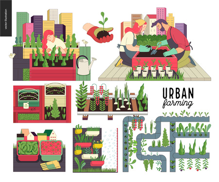 Illustration pour Urban farming, gardening or agriculture set. Planting, harvest, wooden seedbeds, planting on rails, vertical farming and hydroponics. - image libre de droit