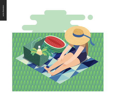 Photo for Picnic Image - flat cartoon vector illustration of girl sitting in the grass with a ribbon sun hat, picnic wicker basket, lemonade, blue abstract blanket, greenery salad, watermelon - summer postcard - Royalty Free Image