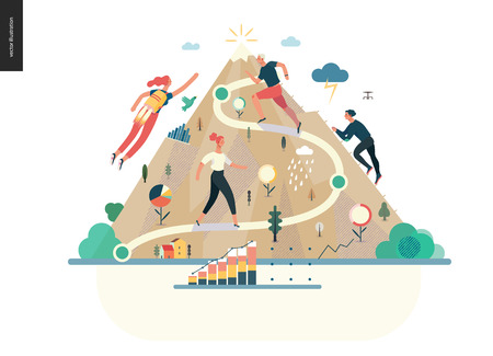 Illustration pour Business series, color 1- career -modern flat vector illustration concept of career - people climbing the mountain. Climbing up the career ladder process metaphor Creative landing page design template - image libre de droit