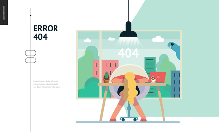 Illustrazione per Business series, color 1- error 404 -modern flat vector concept illustration of page Error 404. Exhausted woman laying on the office table Page not found metaphor Creative landing page design template - Immagini Royalty Free