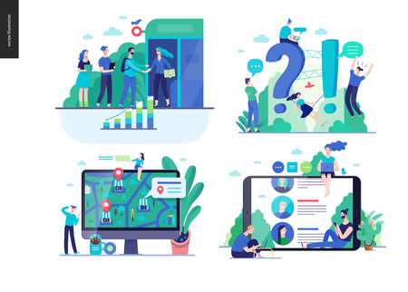 Ilustración de Business series set, color 2-modern flat vector concept illustrated topics -b2b partnership, questions and answers faq, where to buy -location, forum reviews. Creative landing web page design template - Imagen libre de derechos