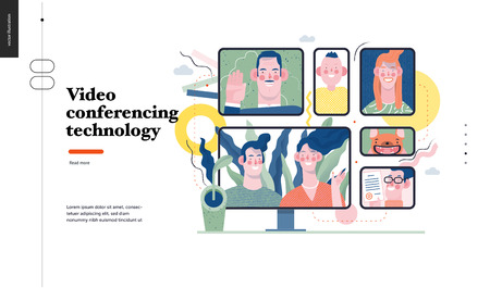 Ilustración de Technology 1 -Video conferencing technology - modern flat vector concept digital illustration video conference metaphor, digital communication. Creative landing web page design template - Imagen libre de derechos