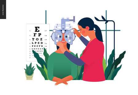 Illustration pour Medical tests template. Eye tests and prescription glasses - image libre de droit